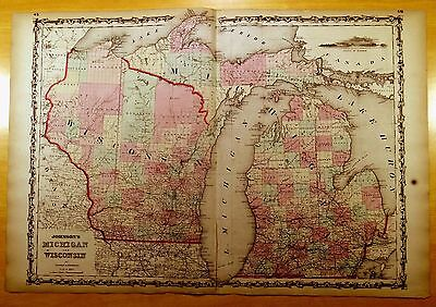 Antique Map ORIGINAL 1860 MICHIGAN & WISCONSIN Hand-Colored 26 1/2 x 18