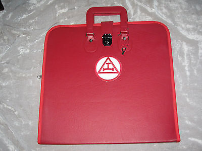 York Rites Triple Tau Masonic Red Apron Case Freemason Lock Lodge Jewels NEW!