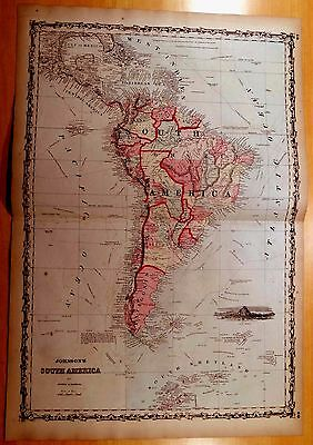 Antique Map ORIGINAL 1860 SOUTH AMERICA Hand-Colored 26 3/8 x 18