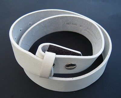 White Genuine Cowhide Leather Snap On Belt Strap For Belts Buckles