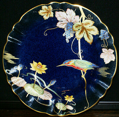 Vintage Carlton Ware England Gilded Scallop Edged Bird of Paradise Plate  8 3/4""