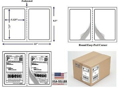 "Perforated 1000 Quality Round Corner Shipping Labels 2 Per Sheet 7.5"" x 5.125"""