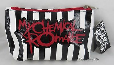 New My Chemical Romance Logo Striped Cosmetic Bag Make-Up Travel Tote Purse