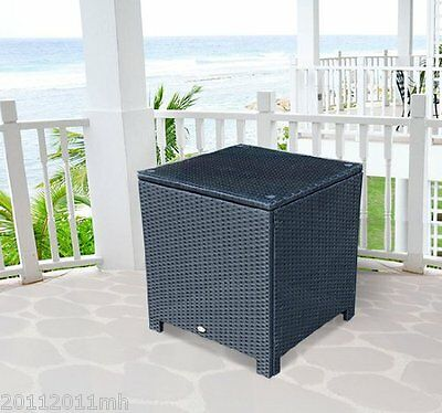 Outsunny Rattan Side Table Patio Garden Furniture Aluminum Frame Tempered Glass