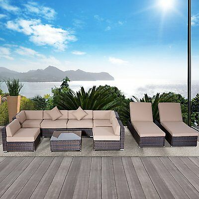 Outsunny 9pc Deluxe Rattan Wicker Patio Furniture Lounge Sofa Set Outdoor Indoor