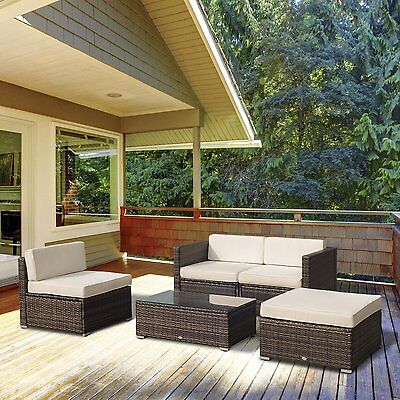 Outsunny 5PC Outdoor Rattan Wicker Sofa Set Garden Sectional Patio Furniture