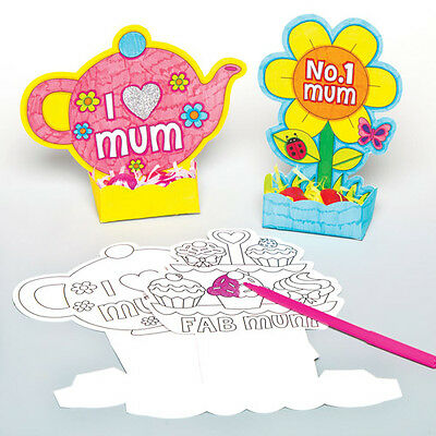 6 Mothers Day Colour-in Basket Craft Kits for Children to Make Creative Gift Set