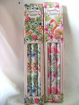New 6 Scented Drawer Liners Tropical Punch Flamingo Flower Design Tt0154 2 Boxes
