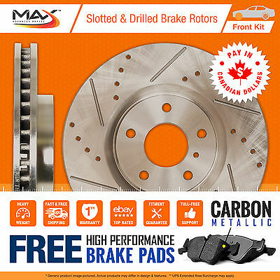07 08 GMC Sierra 2500HD 2WD/4WD Slotted Drilled Rotor Metallic Pads Front