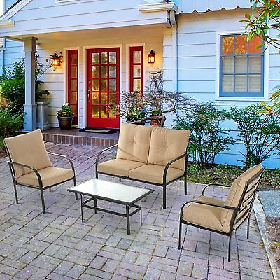 4pc Steel Frame Sofa Table Set with Cushion Gazebo Furniture Outdoor Patio Lawn