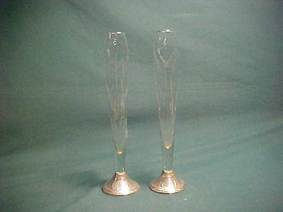 Pair of Weighted Sterling Silver and Etched Glass Bud Vases Duchin Creations