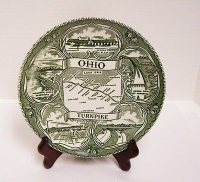 Ohio OH Turnpike Collector Plate Green and Cream Vintage