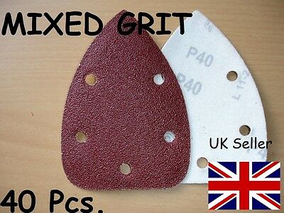 40 MIXED GRIT 140mm MOUSE SANDER PAD SANDING SHEET DISCS VELCRO 60 80 120 240
