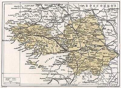 1923 map of Ireland: County Galway antique ready-mounted print SUPERB