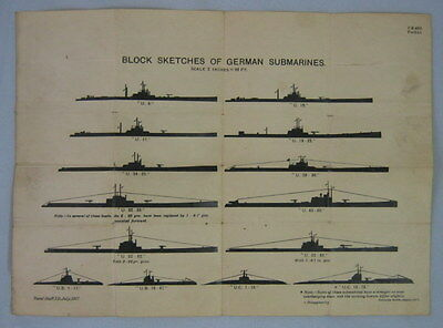 Block Sketches Of German Submarines Wwi 1917 - U.s. Navy Identification Sheet