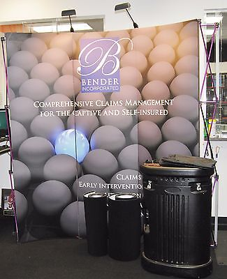 "Portable Exhibit Stand Curved Pop-Up Display Booth w/Spotlights 88"" x 76"" x 12"""