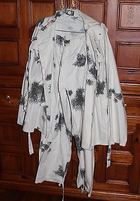 Vtg Winter W Germany White Cotton Snow Camo Camouflage Hooded Jacket Pants L