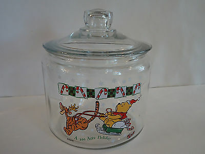 Disney WINNIE THE POOH Glass Candy Goodie Cookie Jar Holiday Christmas Tigger