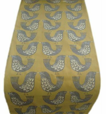 TABLE RUNNER-made in SCANDI BIRDS mustard yellow grey lined  xmas runners