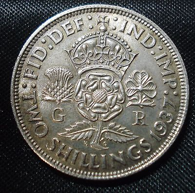 1937 George Vi Proof Silver Florin Small Mark To Obv. See Images