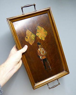 c1900 Victorian Boer War Soldier Marquetry Tray Royal Standard Union Flags Treen