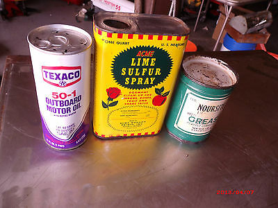 Advertising Vintage Collectable Texaco Noursite Acme motor oil cans (3)lot Neat!