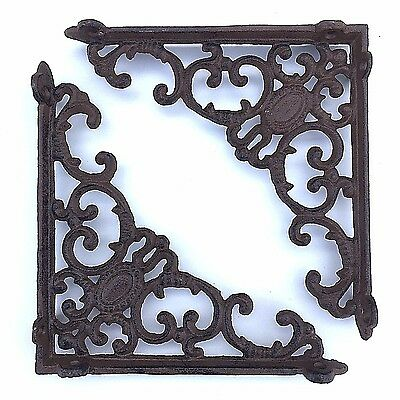 "Set of 2 antique style Cast Iron Shelf Brackets - 8"" x 8"" #05"