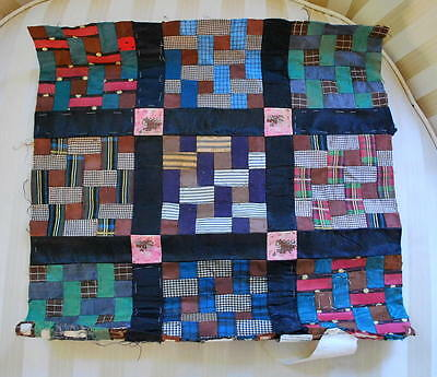 1850 Tiny Postage Stamp Silk Quilt Frag Personal Correspondance Paper On Back