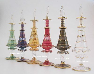"One 6"" Egyptian Glass Art Perfume Bottle Handmade + 24K Gold Plated AA#306"