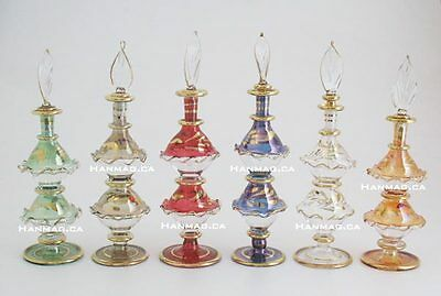"Set of Six 5½"" Egyptian Glass Art Perfume Bottle Handmade + 24K Gold Plated"