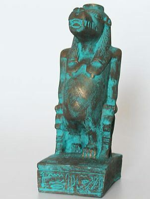 """8"""" Egyptian Artificial Stone Sculpture of Goddess Taweret + Hand Carved #813"""