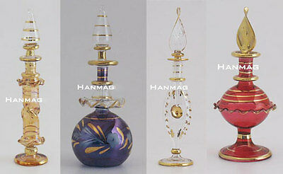 "Set of 18  Egyptian Glass Perfume Bottles 3-5"" + Over 50 designs + 24K Gold"