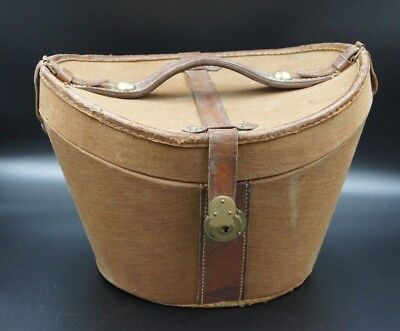 Beautiful Original Leather & Canvas Top Hat Bucket Hatbox