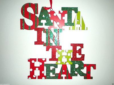 """Glittery """"santa In The Heart"""" Wooden Christmas Hanging Decoration"""