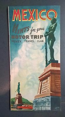 Vintage 1959 Mexico Hints For Your Motor Trip, Pemex Travel Club.