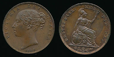 1840 FARTHING....High Grade with Lustre...UK Fast Post