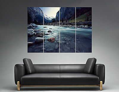 Snow Valley Landscape Landscape Mountain Mountain Wall Art Poster A0 Wide Print