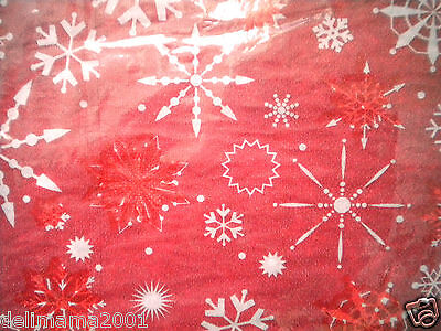 """CHRISTMAS """"SNOWFLAKES"""" VINYL FLANNEL-BACK TABLECLOTH/COVER  ~ 52"""" x 70"""""""