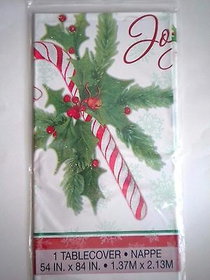 """""""CANDY CANE CHRISTMAS"""" PLASTIC TABLECLOTH/COVER ~ 54"""" x 84"""""""