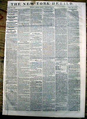 1861 Civil War newspaper JEFFERSON DAVIS ELECTED PRESIDENT of CONFEDERATE STATES