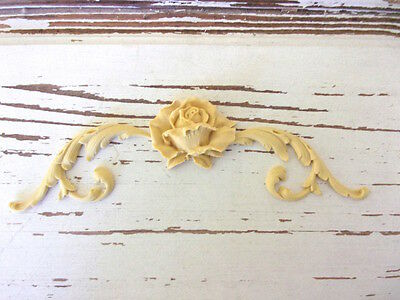 FURNITURE APPLIQUES * ARCHITECTURAL SCROLLS w/ ROSE * PAINTABLE * STAINABLE