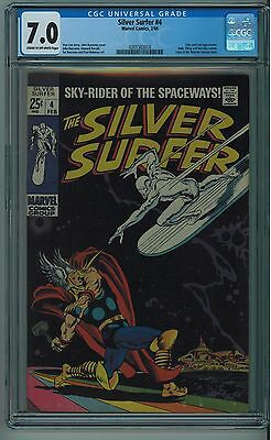 Silver Surfer #4 Cgc 7.0 Classic Cover Cr/ow Pages 1969
