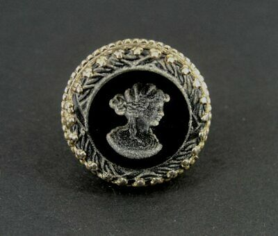 Vintage Cameo Black Acid Etched Glass Gold Plate RING Size 8