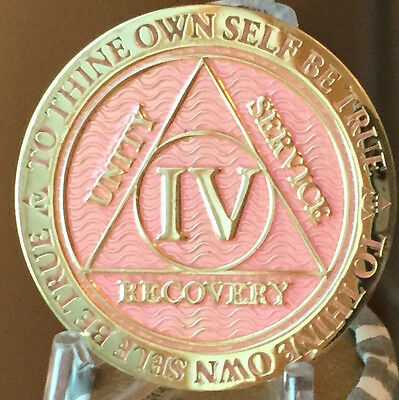 4 Year AA Medallion Pink Gold Plated Alcoholics Anonymous Sobriety Chip Coin IV