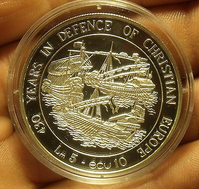 Malta 1993 5 Liri 10 Ecu Silver Proof~Defence Of Christian Europe~35k Minted~F/S