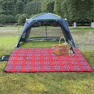 """70""""x53"""" Water-resistant Folding Picnic Blanket Outdoor Beach Rug Travel Mat Tote"""