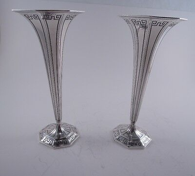 Tiffany Sterling Silver Pair Of Art Deco Trumpet Vases Greek Key Antique Rare