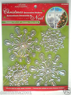 3D Christmas Silver Snowflakes Peel 'n Stick Window Decorations ~ #2