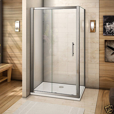 Sliding Shower Enclosure and Tray Glass Door Cubicle Corner Entry Free Waste