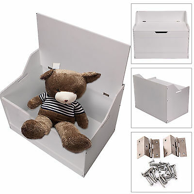 Childrens Toy Box Room Storage White Wood Chest Bench Bedroom Furniture Unit